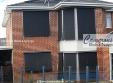 Classic Sun Blinds Shades and Upper Storey Blinds (Fixed Guides) in Mesh PVC Fabric (Bay Windows)