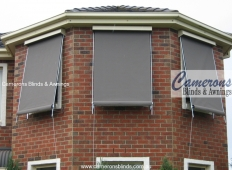 Upper Storey Sun Blinds - Rope Operated Fixed Guides in Acrylic Fabric