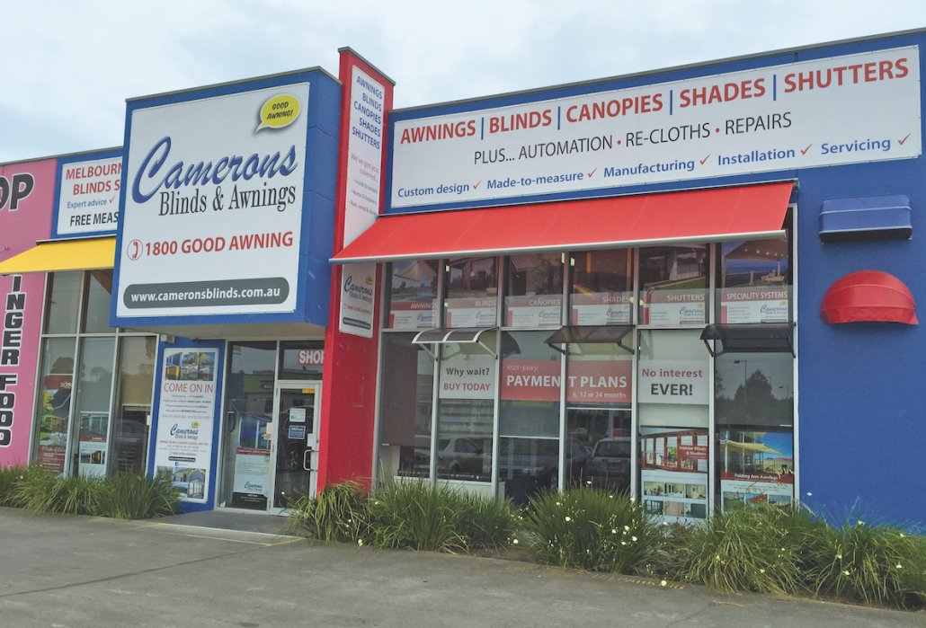Camerons Blinds & Awnings Showroom
